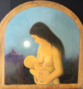 Maternità - olio su legno antico (52 x 52 cm)